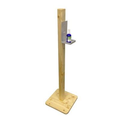 Desinfektionsständer HOLZ ECO Gesamthöhe 1.200 mm - Gewicht ca. 3 kg Fichtenholz, klar lackiert - Ablage Alu, 3 mm - Holz Eco