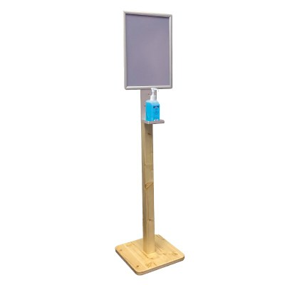 Desinfektionsständer HOLZ Premium mit Klapprahmen DIN A3 - Gesamthöhe 1.350 mm - Gewicht ca. 3,5 kg Fichtenholz, klar lackiert - Ablage Alu, 3 mm - Desinfekt Holz Klapp