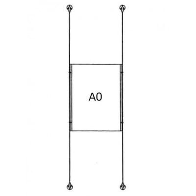 Drahtseilsystem Acryl Boden/Decke zum Verspannen zwischen Boden und Decke Format: 1x A0 (841x1189 mm) HOCHFORMAT - da-d-1xa0 - drahtseilsystem 1x din a0 hochformat 1