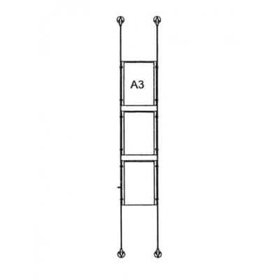 Drahtseilsystem Acryl Boden/Decke zum Verspannen zwischen Boden und Decke DIN A3 (297x420 mm) - da-bd-3xa3 - drahtseilsystem 3x din a3 hochformat 1