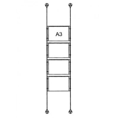 Drahtseilsystem Acryl Boden/Decke zum Verspannen zwischen Boden und Decke Format: 4x A3 (420x297  mm) QUERFORMAT - da-bd-4xa3 - drahtseilsystem 4x din a3 querformat