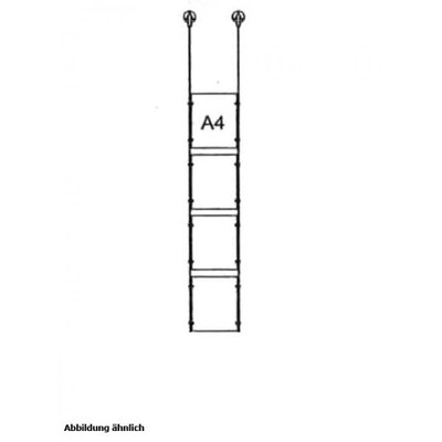 Drahtseilsystem Acryl Deckenabhängung zum Abhängen von der Decke DIN A4 (210x297 mm) - da-d-4xa4 - drahtseilsystem 4x din a4 hochformat decke