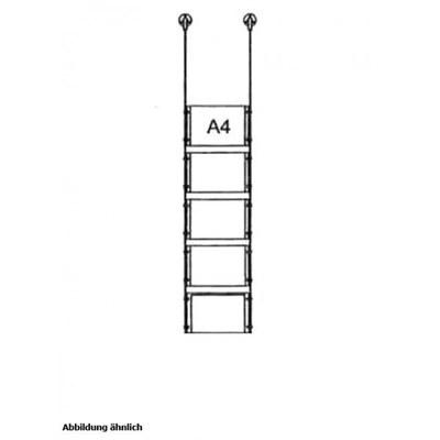 Drahtseilsystem Acryl Deckenabhängung zum Abhängen von der Decke DIN A4 (210x297 mm) - da-d-5xa4 - drahtseilsystem 5x din a4 querformat decke