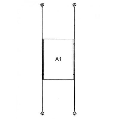 Drahtseilsystem Acryl Wandbefestigung zur Wandbefestigung DIN A1 (594x841 mm) - da-w-1xa1 - drahtseilsystem 1x din a1 hochformat