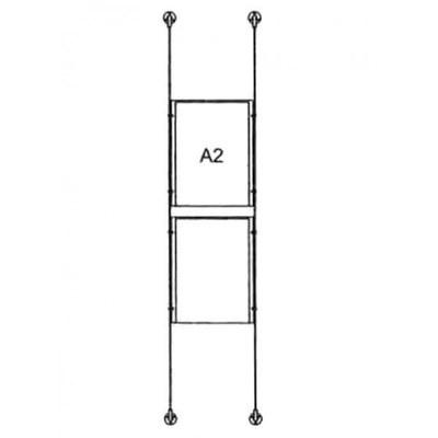 Drahtseilsystem Acryl Wandbefestigung zur Wandbefestigung DIN A2 (420x594 mm) - da-d-2xa2 - drahtseilsystem 2x din a2 hochformat