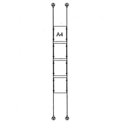 Drahtseilsystem Acryl Wandbefestigung zur Wandbefestigung DIN A4 (210x297 mm) - da-d-4xa4 - drahtseilsystem 4x din a4 hochformat 1