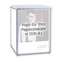 Promotiontheke ALLEGRO® PLUS Podest für 3 DIN A1 Plakate im Hochformat inkl. Deckelplatte und Einlegeboden - plus-faltpodest plakat