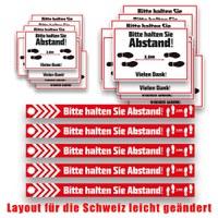 "Großes Aufkleber-Set ""Abstand halten"" setweise verpackt, bestehend aus: 10x SK-Folie in DIN A3 - Andstand Aufkleber Set CH"