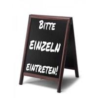 Holz-Aufsteller (geschlossener Rahmen) Format: 55x85cm - Profil: rund Farbe des Holzrahmens: dunkelbraun - holz-aufsteller-dunkelbraun