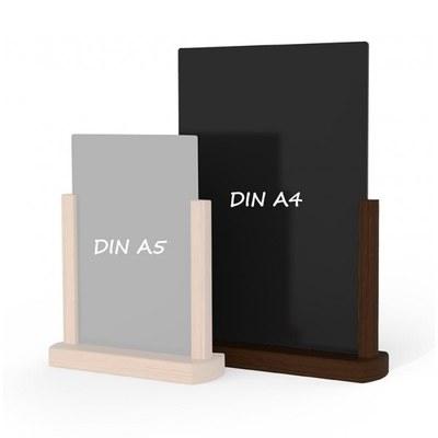 Holz-Tischaufsteller Farbe des Holzrahmens: dunkelbraun DIN A4 (210x297 mm) - Holz-Tischaufsteller-DINA4-dunkelbraun