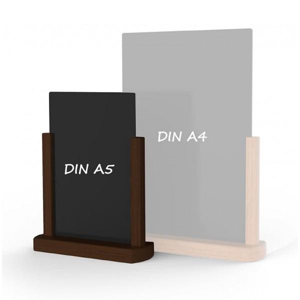 Holz-Tischaufsteller-DINA5-dunkelbraun