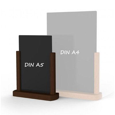Holz-Tischaufsteller Farbe des Holzrahmens: dunkelbraun DIN A5 (148x210 mm) - Holz-Tischaufsteller-DINA5-dunkelbraun