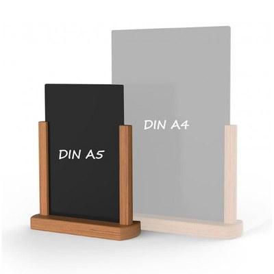 Holz-Tischaufsteller Farbe des Holzrahmens: hellbraun DIN A5 (148x210 mm) - Holz-Tischaufsteller-DINA5-hellbraun