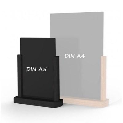 Holz-Tischaufsteller Farbe des Holzrahmens: schwarz DIN A5 (148x210 mm) - Holz-Tischaufsteller-DINA5-schwarz