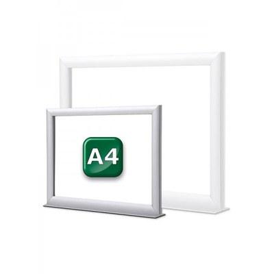 Infotopper-Einschubrahmen Format: DIN A4 quer, doppelseitig auf stabilem Alu-Standfuß - Farbe: silber-eloxiert - Infotopper-DIN-A4-JPG