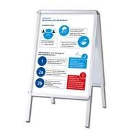 Kundenstopper OUTDOOR mit Plakaten Einlegeformat: DIN A1 (594x841 mm) Profil: 32mm Rondo - silber-eloxiert - Kundenstopper-Outdoor-DIN-A1-Rondo mit Hygienehinweis
