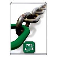 Poster-Snap Klemmleisten-Set Profil-Länge: 705 mm Oberprofile: silber-eloxiert - 1x OHNE und 1x - Poster-Snap-705