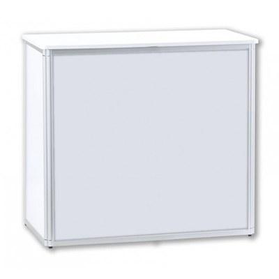 Promotiontheke ALLEGRO®-Rechteck durchg. weiß - mit durchgehender Front inkl. Deckelplatte (weiß) & Einlegeboden - Promotiontheken-Rechtecktheke-durchgehend-weiss-Front 2