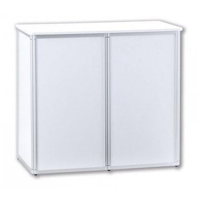 Promotiontheke ALLEGRO®-Rechteck geteilt weiß - mit geteilter Front inkl. Deckelplatte (weiß) & Einlegeboden - Promotiontheken-Rechtecktheke-Front-geteilt 2