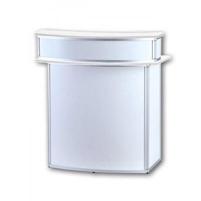 Promotiontheke ALLEGRO®Rondotheke Bar mit Baraufsatz (Aluminium-Rahmen, silber inkl. Deckelplatten (weiß) & Einlegeboden - rondotheke-mit-baraufsatz-front-ws
