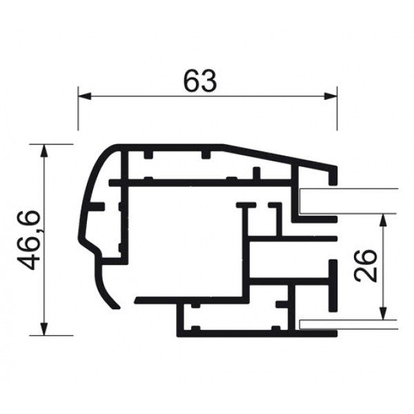 schaukasten premium led bt46 outdoor detail profilquerschnitt 8