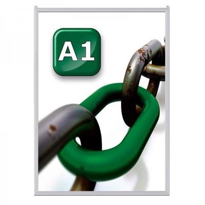 Slide-In Einschubrahmen Einlegeformat: DIN A1 (594x841 mm) Profil: 24 mm - silber-eloxiert - slide Inn A1 20er Gehrung