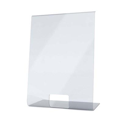 Spuckschutz aus Acrylglas als L-Aufsteller Hochformat 500x700x300 mm - 4mm Materialstärke glasklares Acrylglas XT - Spuckschutz L-Aufsteller