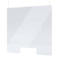 """Acrylschutzwand als Spuckschutz Deckenhänger Grösse """"L"""" Format 1.000x800 mm glasklares Acrylglas XT in 4mm Materialstärke - Spuckschutz Deckenhänger L"""