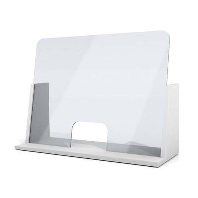 Acrylschutzwand als Spuckschutz Seitenwände und Boden aus 25mm Dekospan mit ABS-Anleimern in weiss mit Ablage & Durchreiche - Spuckschutz CH Frontal ws